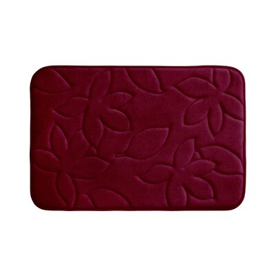 Blowing Leaves Plush Memory Foam Bath Mat Color: Linen, Size: 17 X 24