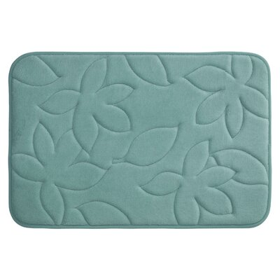 Blowing Leaves Plush Memory Foam Bath Mat Color: Marine Blue, Size: 20 X 34
