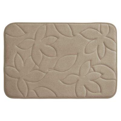Blowing Leaves Plush Memory Foam Bath Mat Color: Linen, Size: 20 X 34