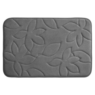 Blowing Leaves Plush Memory Foam Bath Mat Color: Dark Grey, Size: 20 X 34