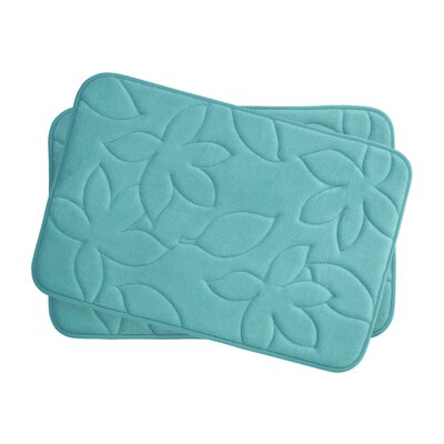 Blowing Leaves 2 Piece Bath Mat Set Color: Turquoise, Size: 17 X 24