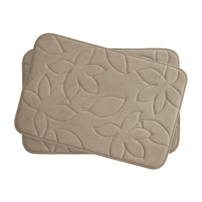 Blowing Leaves 2 Piece Bath Mat Set Color: Linen, Size: 17 X 24