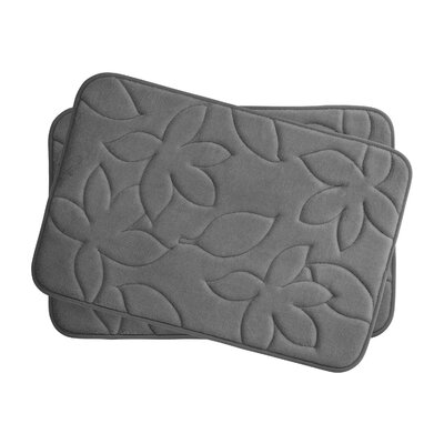 Blowing Leaves 2 Piece Bath Mat Set Color: Dark Grey, Size: 17 X 24