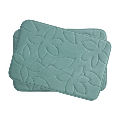 Blowing Leaves 2 Piece Bath Mat Set Color: Marine Blue, Size: 17 X 24