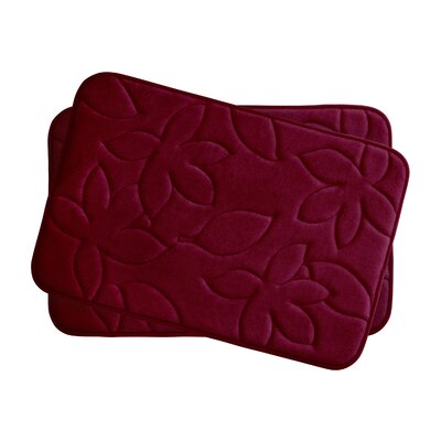 Blowing Leaves 2 Piece Bath Mat Set Color: Barn Red, Size: 17 X 24