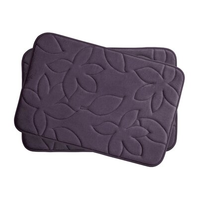 Blowing Leaves 2 Piece Bath Mat Set Color: Plum, Size: 17 X 24