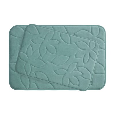 Blowing Leaves 2 Piece Bath Mat Set Color: Marine Blue, Size: 20 X 34