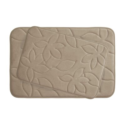 Blowing Leaves 2 Piece Bath Mat Set Color: Linen, Size: 20 X 34