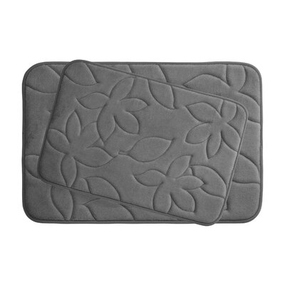 Blowing Leaves 2 Piece Bath Mat Set Color: Dark Grey, Size: 20 X 34