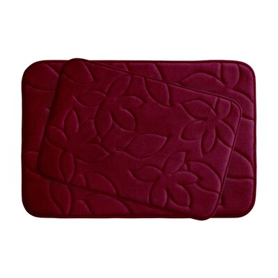 Blowing Leaves 2 Piece Bath Mat Set Color: Barn Red, Size: 20 X 34