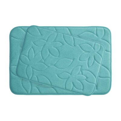 Blowing Leaves 2 Piece Bath Mat Set Color: Turquoise, Size: 20 X 34