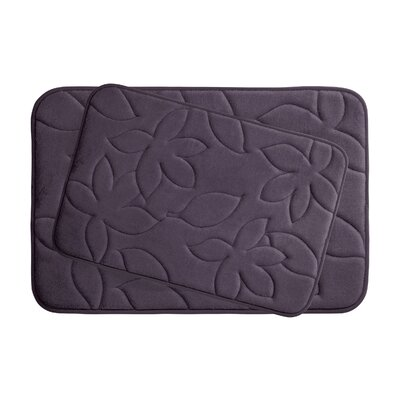 Blowing Leaves 2 Piece Bath Mat Set Color: Plum, Size: 20 X 34