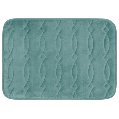 Grecian Plush Memory Foam Bath Mat Color: Marine Blue, Size: 20 W x 34 L