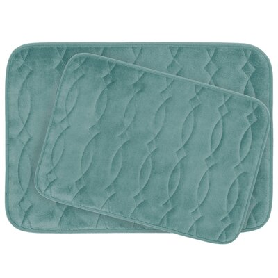 Grecian Large 2 Piece Plush Memory Foam Bath Mat Set Color: Marine Blue