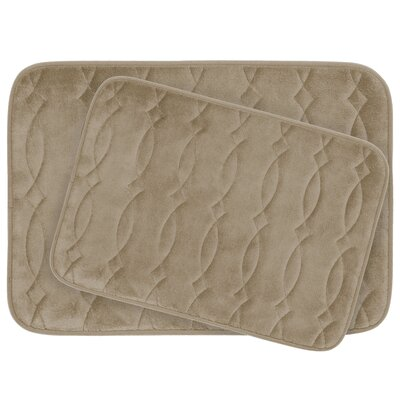 Grecian Large 2 Piece Plush Memory Foam Bath Mat Set Color: Linen