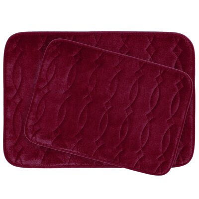 Grecian Large 2 Piece Plush Memory Foam Bath Mat Set Color: Barn Red