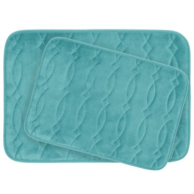 Grecian Large 2 Piece Plush Memory Foam Bath Mat Set Color: Turquoise