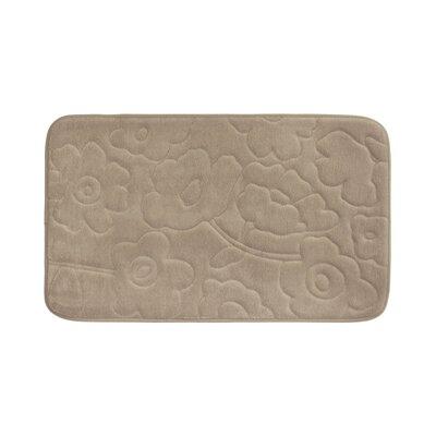 Stencil Floral Plush Memory Foam Bath Mat Color: Linen, Size: 34 x 20