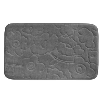 Stencil Floral Plush Memory Foam Bath Mat Color: Dark Grey, Size: 34 x 20