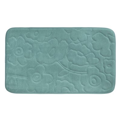 Stencil Floral Plush Memory Foam Bath Mat Color: Marine Blue, Size: 24 x 17