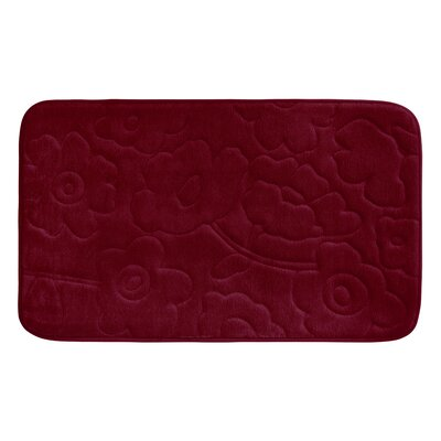 Stencil Floral Plush Memory Foam Bath Mat Color: Barn Red, Size: 34 x 20