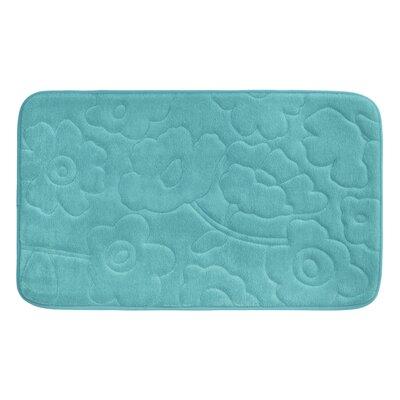 Stencil Floral Plush Memory Foam Bath Mat Color: Turquoise, Size: 24 x 17