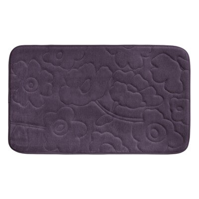 Stencil Floral Plush Memory Foam Bath Mat Color: Plum, Size: 34 x 20