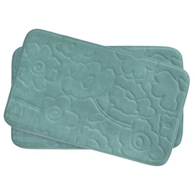 Stencil Floral Small 2 Piece Plush Memory Foam Bath Mat Set Color: Marine Blue