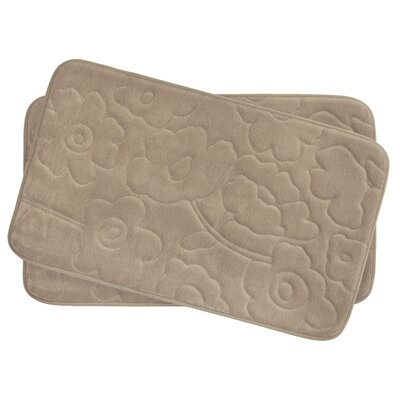 Stencil Floral Small 2 Piece Plush Memory Foam Bath Mat Set Color: Linen