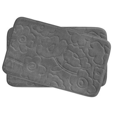 Stencil Floral Small 2 Piece Plush Memory Foam Bath Mat Set Color: Dark Grey