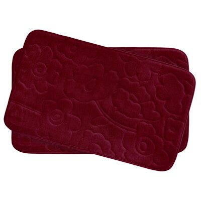 Stencil Floral Small 2 Piece Plush Memory Foam Bath Mat Set Color: Barn Red