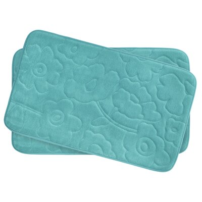 Stencil Floral Small 2 Piece Plush Memory Foam Bath Mat Set Color: Turquoise