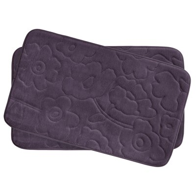 Stencil Floral Small 2 Piece Plush Memory Foam Bath Mat Set Color: Plum