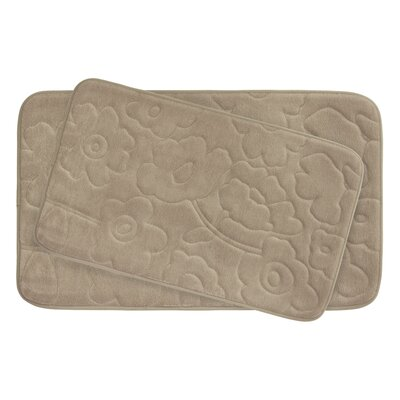 Stencil Floral Large 2 Piece Plush Memory Foam Bath Mat Set Color: Linen