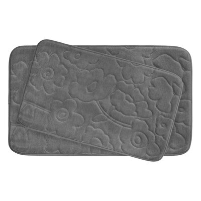 Stencil Floral Large 2 Piece Plush Memory Foam Bath Mat Set Color: Dark Grey