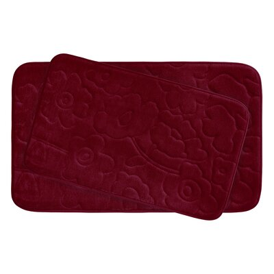 Stencil Floral Large 2 Piece Plush Memory Foam Bath Mat Set Color: Barn Red