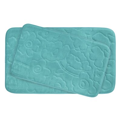 Stencil Floral Large 2 Piece Plush Memory Foam Bath Mat Set Color: Turquoise