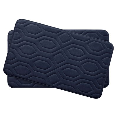 Turtle Shell Small Premium Micro Plush Memory Foam Bath Mat Set Color: Indigo