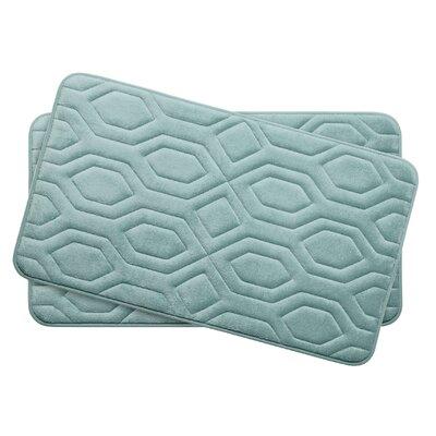 Turtle Shell Small 2 Piece Premium Micro Plush Memory Foam Bath Mat Set Color: Aqua