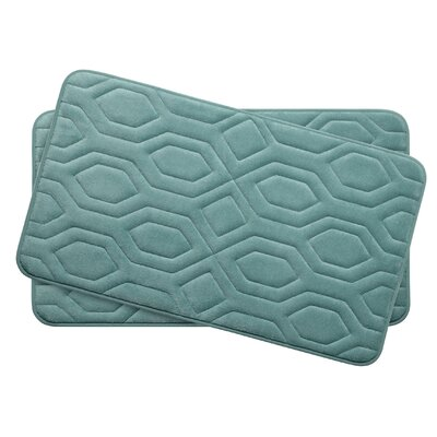 Turtle Shell Small Premium Micro Plush Memory Foam Bath Mat Set Color: Marine Blue