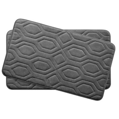 Turtle Shell Small 2 Piece Premium Micro Plush Memory Foam Bath Mat Set Color: Dark Grey