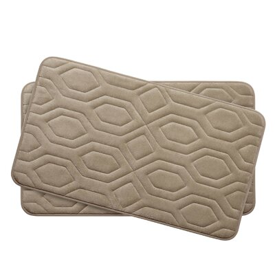 Turtle Shell Small 2 Piece Premium Micro Plush Memory Foam Bath Mat Set Color: Linen