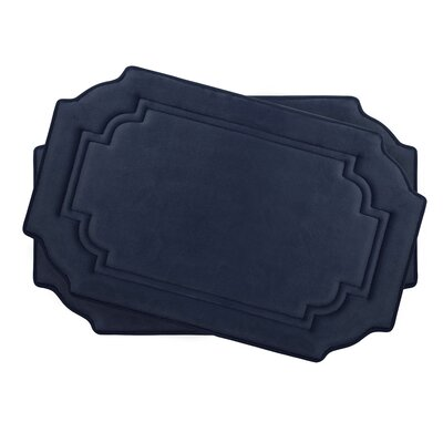 Calypso Small Premium Micro Plush Memory Foam Bath Mat Set Color: Indigo