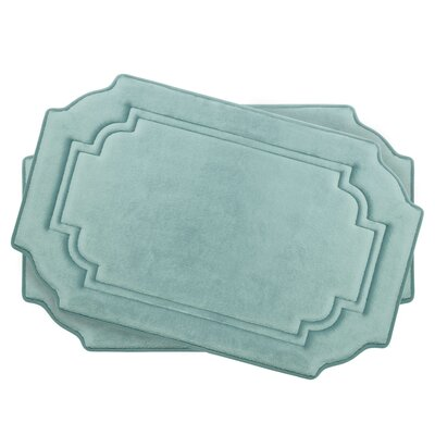 Calypso Small Premium Micro Plush Memory Foam Bath Mat Set Color: Aqua