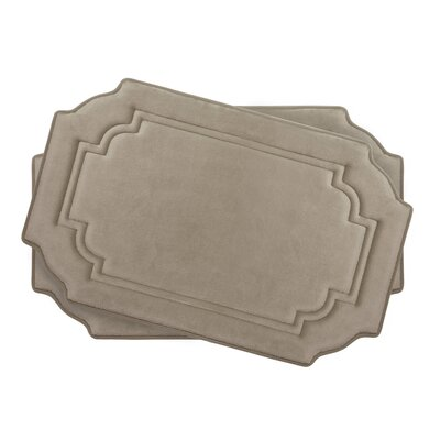 Calypso Small 2 Piece Premium Micro Plush Memory Foam Bath Mat Set Color: Linen