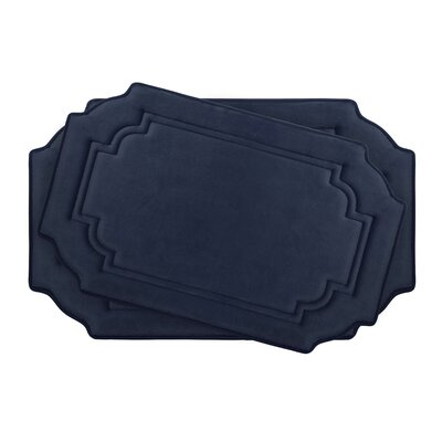 Calypso Large 2 Piece Premium Micro Plush Memory Foam Bath Mat Set Color: Indigo