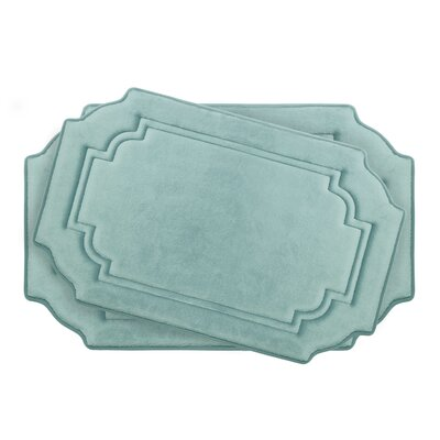 Calypso Large 2 Piece Premium Micro Plush Memory Foam Bath Mat Set Color: Aqua