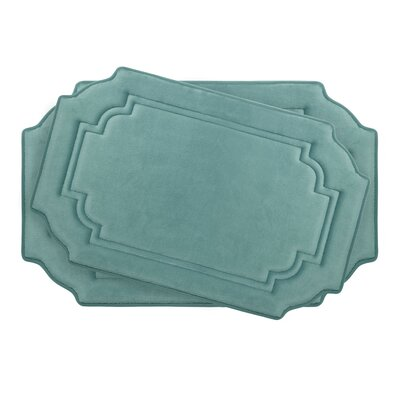 Calypso Large 2 Piece Premium Micro Plush Memory Foam Bath Mat Set Color: Marine Blue