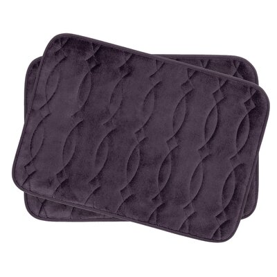 Grecian Small Plush Memory Foam Bath Mat Set Color: Plum