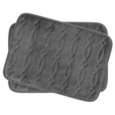 Grecian Small Plush Memory Foam Bath Mat Set Color: Dark Grey